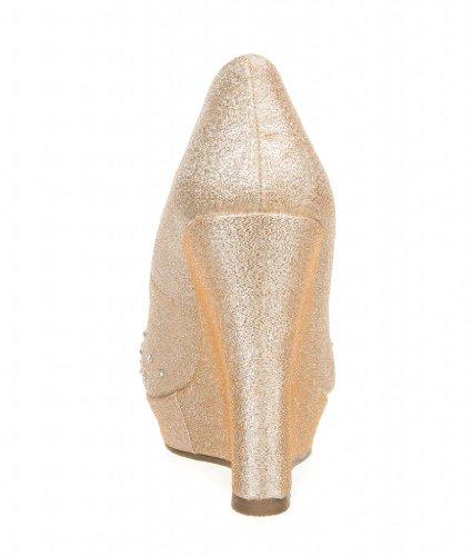 Deblossom De Blossom Femmes Paillettes Strass Peep Toe Pompe Alle-1 Champagne