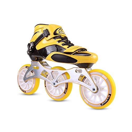 Ailj Racing Fitness Skates Women, Adult Three-Wheel Professional Inline Skating Carbon Fiber Rollerblades for Men Red Yellow (Color : Yellow, Size : EU 34)