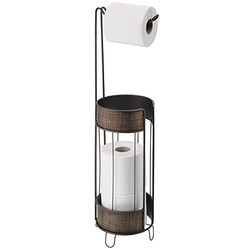 Mdesign Free Standing Toilet Paper Roll Holder For Bathroom Import It All