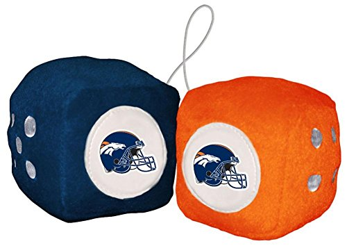 NFL Denver Broncos Fuzzy Dice Auto Accessories 3 x (Fuzzy Die)