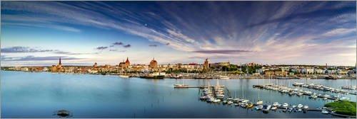 Posterlounge Leinwandbild 150 X 50 Cm Rostock Stadthafen Panorama