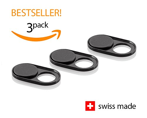Soomz Webcam Cover | Swiss Manufacturing | Camera Protection | iPhone & Smartphone Accessories | Privacy | 3-Pack | Black Metal