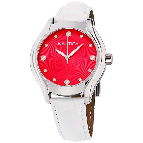 Nautica Pink Dial Leather Strap Ladies Watch N10508M