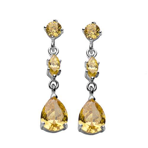 (Sterling Silver Three-Stone Citrine Dangle Post Earrings)