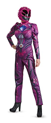 [Disguise Women's Ranger Movie Deluxe Adult Costume, Pink, Large] (Adult Pink Ranger Costumes)