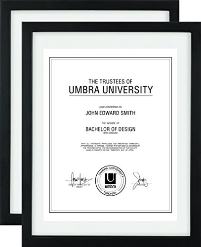 Umbra Document (2-Pack) - 11x14 Frame - Floating Frame for Displaying 8-1/2x11 or 11x14 Inch  Document, Diploma, Certificate, Photo or Artwork, Black