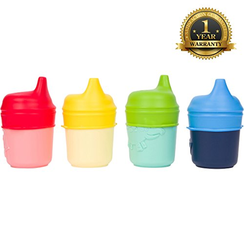 Healthy Sprouts Silicone Sippy Lids (4 Pack) - USA Safety Lab Tested - Make Any Cup a Sippy Cup (Red, Yellow, Green, Blue) (Tippy Tommy Bottles compare prices)