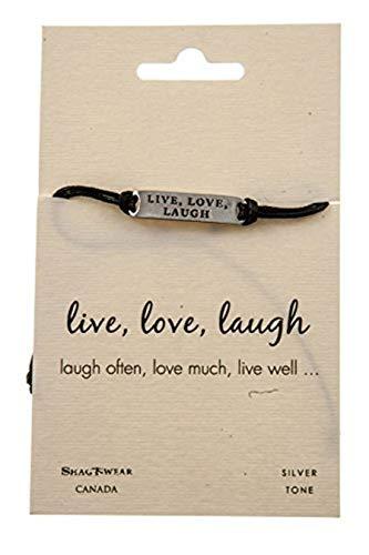 (Shag Wear Inspirational Stamped Metal Quote Bracelet (Live, Love, Laugh))