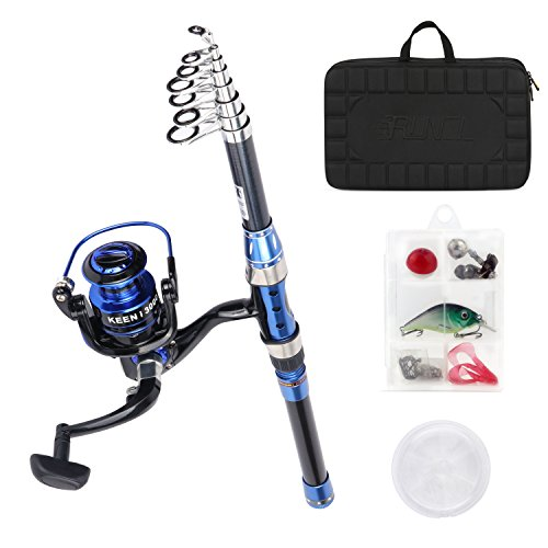 RUNCL Telescopic Fishing Rod and Reel Combos Sport S1, Spinning Rod and Reel Combo, Carbon Fiber Fishing Pole with Spinning Reel Lures Lines Hooks for Freshwater Saltwater Boat Fishing(Blue, 2.4M)