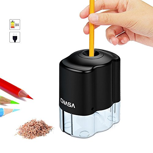 Heavy Duty Classroom Electric Pencil Sharpener Auto Stop Feature ,CNASA Automatic Pencil Sharpener AC/Battery Operated for 2B Colored an All 6-8mm Pencils for Kids Home School Study Office(AC Include)