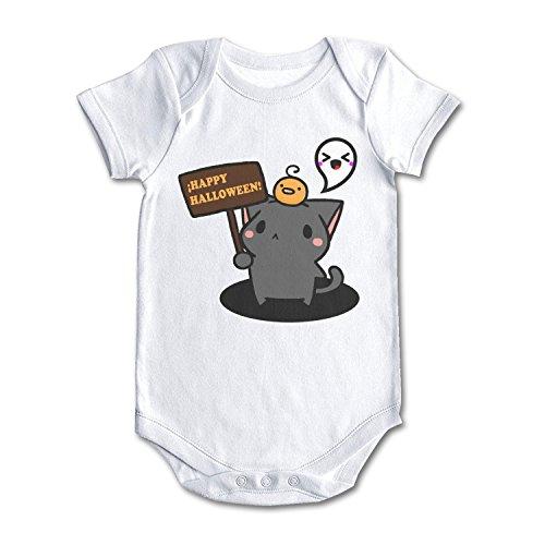 Happy Halloween Kawaii Cat Cool Design Baby Girl Boy Onesies White]()