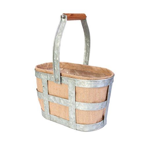 (Panacea 83239 Two Bottle Large Wine Caddy planters Garden Accessories, Vintage Galvanized)