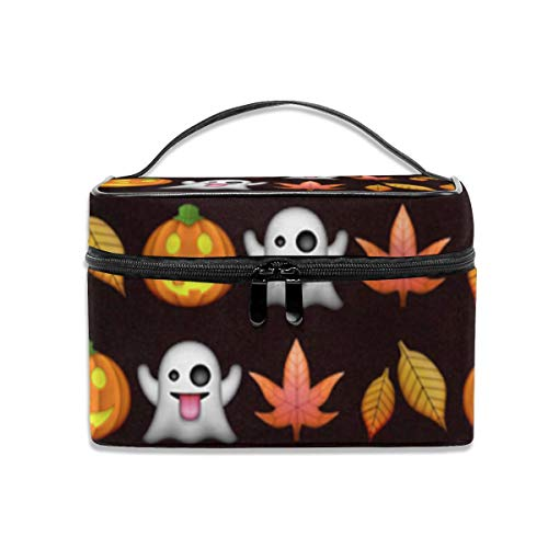 Women Portable Travel Cosmetic Bags Maple Leaf And Pumpkin Mesh Pocket Make Up Bags