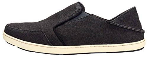 OLUKAI Mens Nohea Lole Slip-On Loafer, Black/Dark Shadow, 12 D (M) US