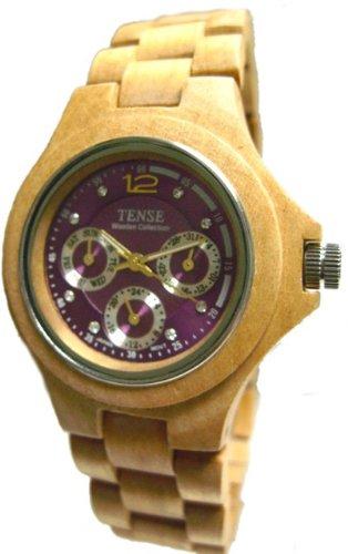 Tense Maple Wood Triple Dial Round Watch Mens G4300M Violet