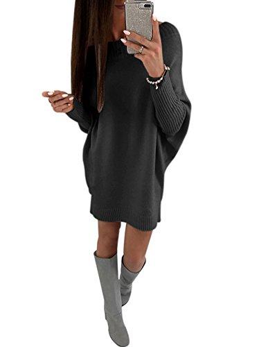 Annystore Women's Crew Neck Pullover Sweater Dress Long Sleeve Loose Knit Club Mini Dress