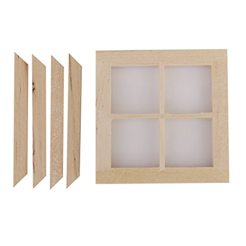 Dollhouse Miniature Wooden 4 Pane Window DIY Accessory