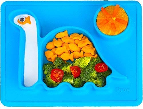 Silicone Placemat Toddler Plates - The Happy Good Dino Pad - from Freezer to Microwave to Table. Fits in a Ziplock Bag. (Blue)