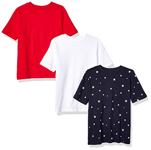 Amazon Essentials   Boys' 3-Pack Short Sleeve Tee, Star/Red/White M (8)