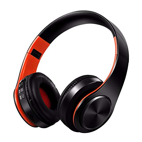 Red Hifi Helmet - JIANPANHD Bluetooth Wireless Earphone Helmet Foldable Gaming Headset Stereo HiFi Devices with Mic Fm Headphone for Cellphone