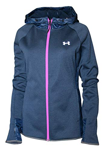 (Under Armour Athletic Full Zip Storm Hooded Light Jacket Hoodie (XL, Navy/Pink))