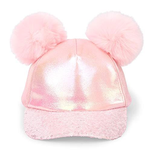 The Children's Place Girls' Big Novelty Pom Sequence Baseball Cap, Pink Tinge, ()