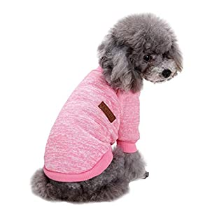 Jecikelon Pet Dog Clothes Knitwear Dog Sweater Soft Thickening Warm Pup Dogs Shirt Winter Puppy Sweater for Dogs (Pink…