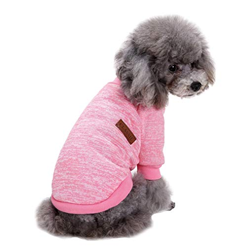 Fashion Focus On Pet Dog Clothes Knitwear Dog Sweater Soft Thickening Warm Pup Dogs Shirt Winter Puppy Sweater for Dogs (Pink, M)