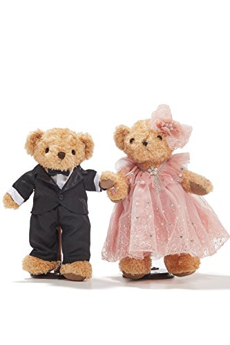 "Wedding Teddy Bears Just Married Bear Couple Newlyweds Toy Set 12"" (light brown, black, cherry blossom pink)"