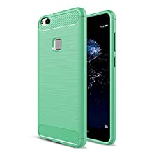 Huawei P10 Lite Case,MYLB Ultra Slim Lightweight Carbon Fiber Design Flexible Soft TPU Case Highstrength Shockproof Protective Back Cover to Protect the Mobile Phone for Huawei P10 Lite (Green)
