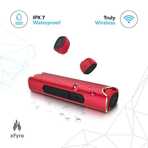 Wireless Earbuds xFyro xS2 Best Bluetooth Headphones with Microphone IPX7 Waterproof Sweatproof Sports Earphones with Stereo Noise Cancelling Headsets for iPhone and Android Charging Case - v2 (Red)
