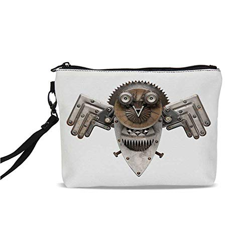 Industrial Simple Cosmetic Bag,Stylized Collage with Owl Figure Cog Hardware Gear Machinery Animal Print Decorative for Women,9