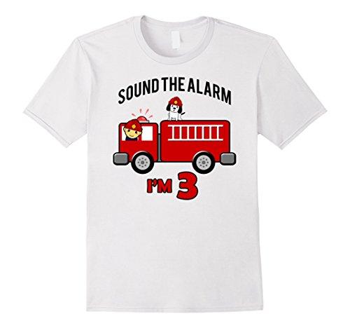 Birthday 3 Year Old Fire Fighter Truck Shirt   FireTruck Tee