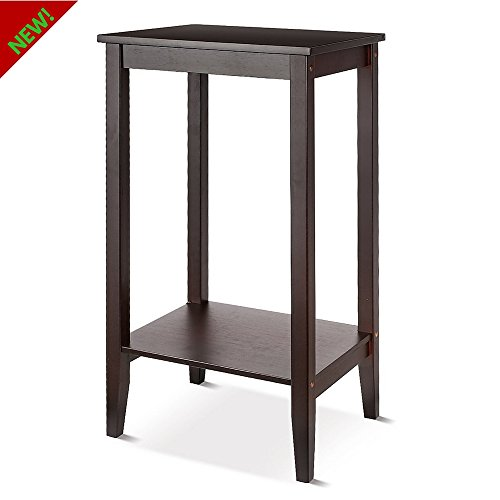 TSR Side End Table Living Room Sofa Side Table With Lower Shelf Tall Narrow Sofa Side Table For Small Spaces, Home Office Guest Rooms And E- book By (22' High Shelf)