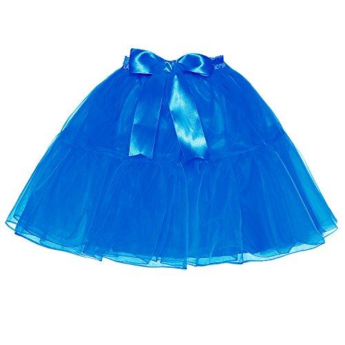 Haute Tulle Taille Tutu Jupe Blue Tailles Bowknot Plusieurs Couches Au Petticoat Genou Femmes Au dessus Lscy Pwp7qp