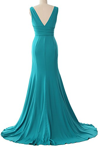 MACloth Women Long Mermaid V-Neck Jersey Wedding Bridesmaid Dress Formal Gown Azul Real