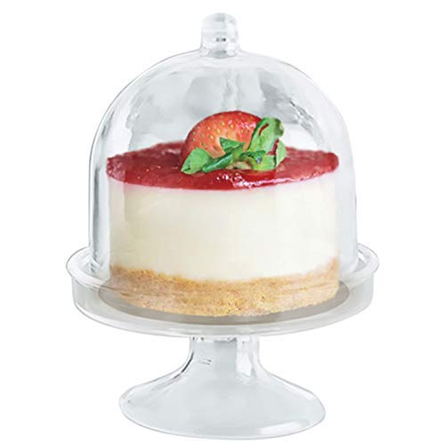 Majestic Settings Mini Cake Stand - Small Plate with Stand and Clear Dome Cover | Heavy Duty Plastic | Miniature Dessert Cupcake Holders | Savings Pack of 10 Stands (2.75 stand) for $<!--$11.99-->