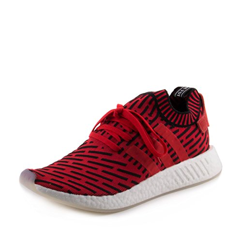 adidas NMD R2 Primeknit Mens in Core Red/Running White, 8.5