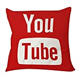 youtube merchandise - Home Decorative Polyester Pillow Case Square 18 x 18 Inches One' Side Printed