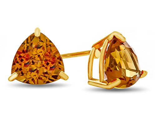 (Finejewelers 7x7mm Trillion Citrine Post-With-Friction-Back Stud Earrings 10 kt Yellow)