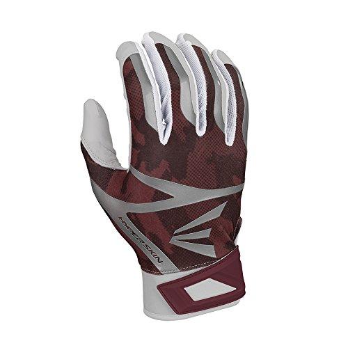 Easton Z7 Hyperskin Batting Pair Gloves, White/Maroon, Large Maroon Batting Gloves