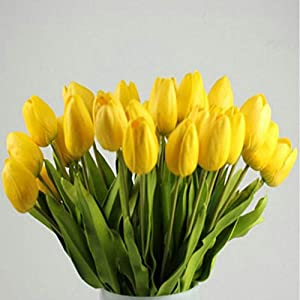 MARJON FlowersArtificial Fake Flowers 10pcs Tulip Artificial Flower Latex Real Touch Bridal Wedding Bouquet Home Decor (Yellow) 108
