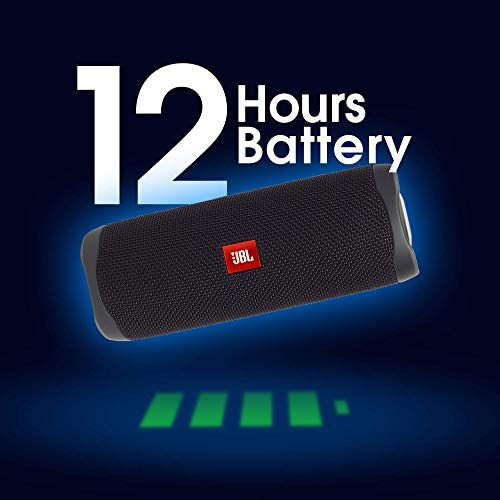 JBL Flip 5 by Harman Bluetooth Speaker with Upto 12 Hours Playtime, IPX7 Waterproof & PartyBoost (Without Mic, Black)