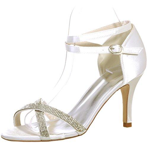 Loslandifen Donna Elegante Open Toe Cinturino Alla Caviglia Sandali Strass Tacchi Alti Scarpe Da Sposa Sposa Avorio-b