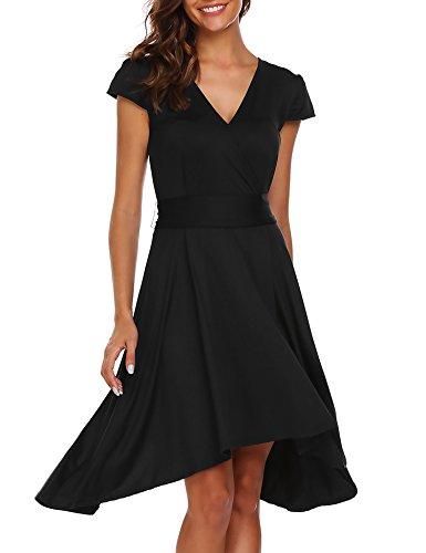 Zeagoo Women's V-Neck Cap Sleeve Hi Low Dress Tie-Waist A Line Midi Dress Black L (Dress Sleeve Cap Waist Tie)