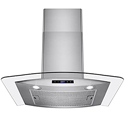 "AKDY 30"" European Style Wall Mount Stainless Steel Glass Range Hood Vent Touch Control"