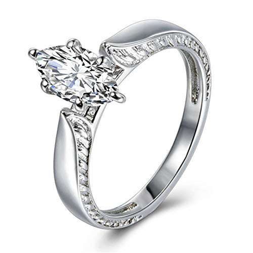 MILIMIEYIK Crystal Rings for Women Size 6, Sterling Silver Zirconia Exquisite Women's Diamond Band Engagement Ring