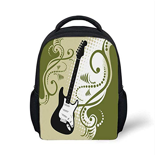 Music Stylish Backpack,Electric Bass Guitar Figure with Swirls Background Artful Illustration for School Travel,9.4