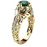 Mysky European and American Luxury Simulation Green Diamonds Women's Wedding Ring