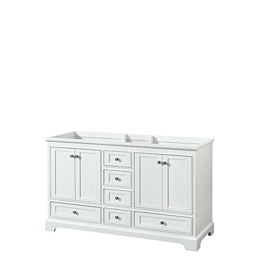 Wyndham Collection WCS202060DWHCXSXXMXX Deborah Double Vanity Cabinet, No Countertop, No Sinks, and No Mirror, 60